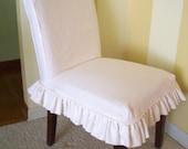 Linen Parsons Chair Slipcover Ruffled Skirt  Dining Chair Slipcover Washable