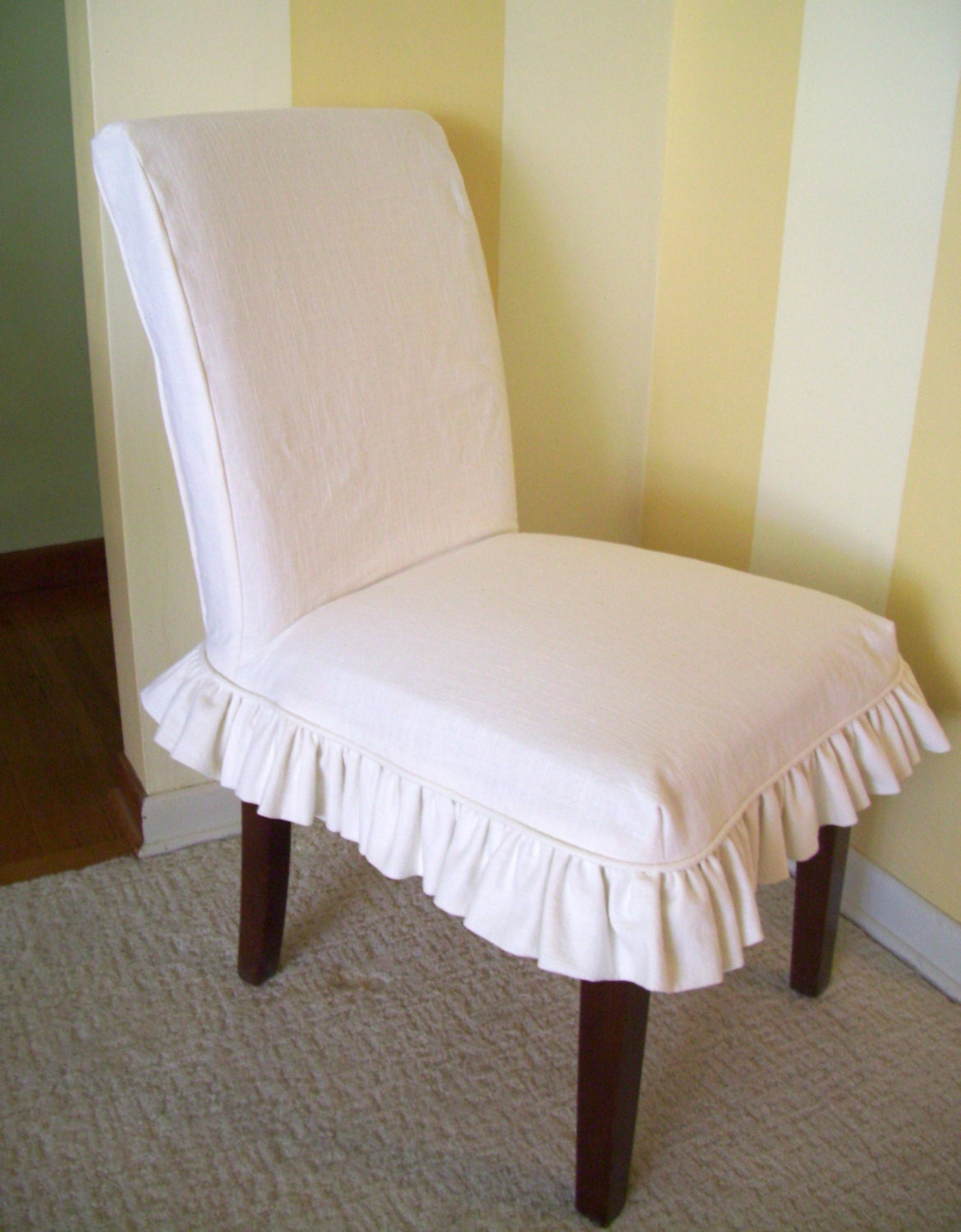 Linen Parsons Chair Slipcover Ruffled Skirt Dining Chair