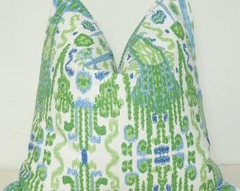 Pillow, Handmade Pillow Cover, Made in USA, Throw Pillow, Decorative Pillow, Toss Pillow, Green Ikat, Blue Ikat, Green Pillow, Home Welcome