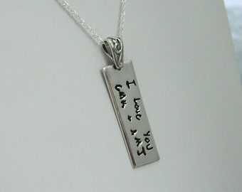 Personalized Message Pendant Handwriting  Jewelry in Sterling Silver