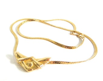 Vintage 80's Avon // Small Crossed Chevron Plate Necklace