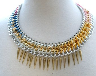 Woven Multichain Necklace with Spikes