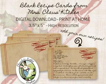 Christmas Recipe Cards Mrs. Santa Claus Digital Download Printable DIY Vintage Prim Style Clip Art Collage Sheet