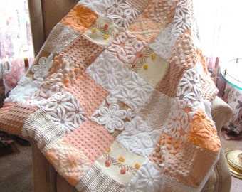 SWEET SUMMER PEACH ~ a Made-to-Order Vintage Cotton Chenille Patchwork Quilt
