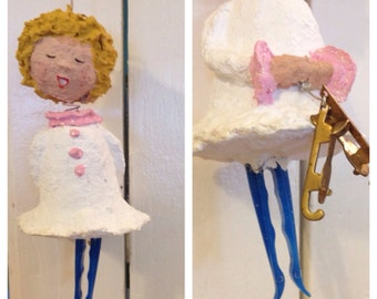 Handcrafted Papier Mache Paper Mache Ice Skater in Pink with Pair of Brass Skates Ornament at A Vintage Revolution