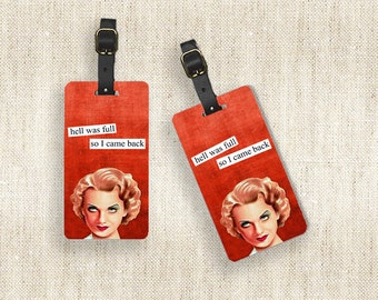 Personalized Luggage Tag Set Personalized To Hell and Back Luggage Tags - Full Metal Tags