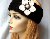 Off White and Black Crochet Headband Ear Warmer, Ski Headband, Cream Flower, Gifts for her, Photo Prop, Birthday Gifts, Handmade - HBJE55E