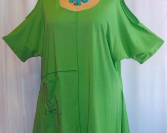 Coco and Juan, Lagenlook,  Women's Top, Plus Size Top. Cold Shoulder. Cotton Knit,  Angled Tunic Top, Kiwi Green One Size Bust  to 58 inches
