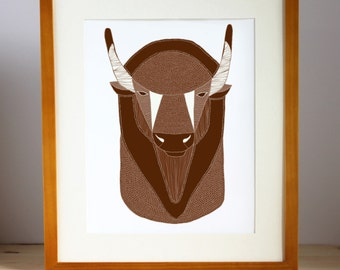 Buffalo Print, Bison Print, Buffalo Illustration, Bison Illustration, Southwest Art, Western Art, Buffalo Head Art, Western Illustration