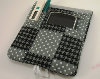 Medical Pocket Organizer - Nurse Scrubs Pocket Case - Two Sizes to choose from - Gray and Black Houndstooth - Unisex Print