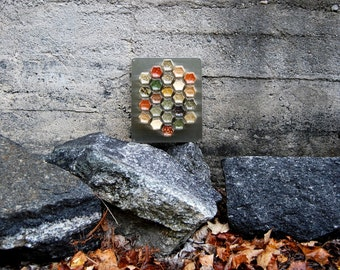 Custom Wall Hanging Spice Rack // 24 Small Magnetic Jars Filled with Organic Spices of Your Choice & Stainless Plate. Unique Gift Idea.