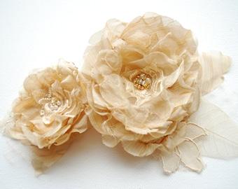 champagne cream bridal flowers, vintage wedding, weddings hair accessories, bridesmaids headpiece, bridal cream hair clip, sash, corsage