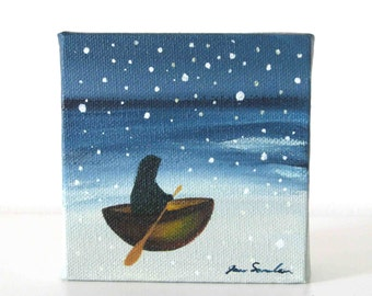 Sailing At Midnight - Figure Floating In Boat Among Stars