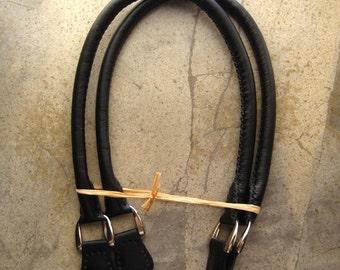 Handmade Leather Bag Handles - Black