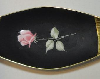 Vintage Plankenhammer Floss 24K gold on Black with Rose Oval bowl. Bavaria. Germany.