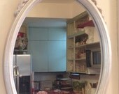 Vintage Mirror -Pink Bow topped Shabby Chic/Little Girls Room