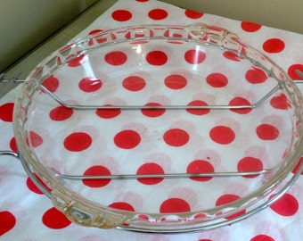 Vintage Silver Pie Carrier/Server with 2 Pyrex Pie Plates