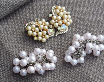 2 PAIRS Vintage Faux Pearl Earrings clip-on and slip-through