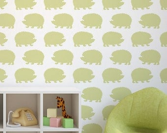 Hedgehogs Allover Stencil Pattern - Large - Trendy stencils for DIY home décor - Better than wallpaper!