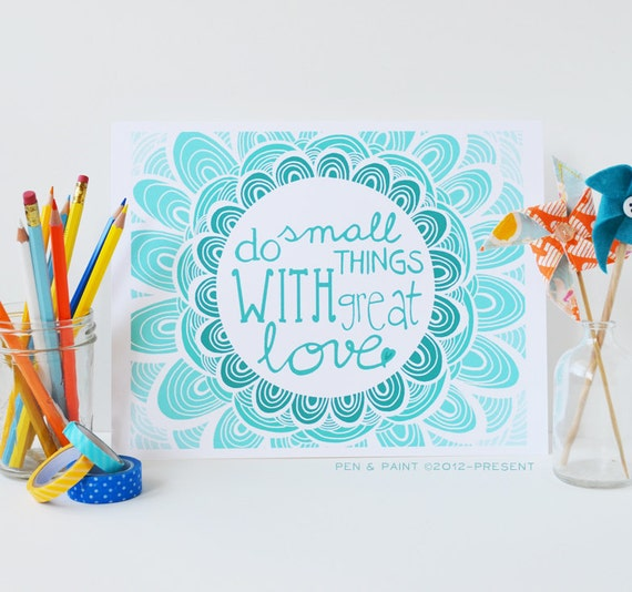 Teal, Graduation Gift, Aqua, Turquoise Ombre, Mother Teresa, Do Small Things With Great Love, Inspiration, Inspiring Quote