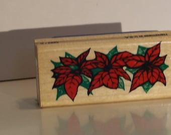 Border of Poinsettias Rubber Stamp