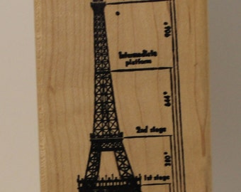 Scale Drawing of The Eiffel Tower Rubber Stamp