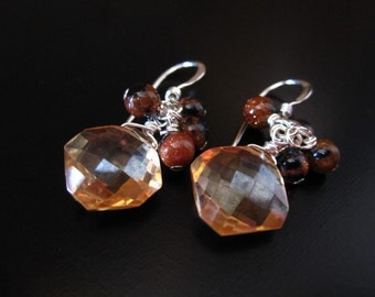 Champagne Quartz Goldstone Earrings - Faceted Champagne Quartz Octagons, Mixed Blue and Gold Goldstone and Sterling Silver