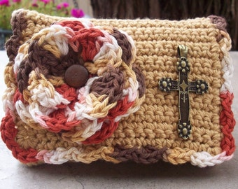 Crocheted Purse  ~  Camel and Variegated with Metal Cross Crocheted Cotton Little Bit Purse