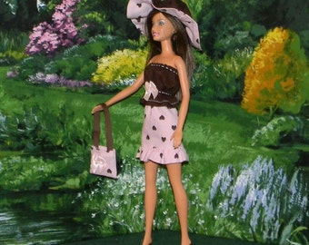 BSHB-07 ) Barbie outfit with hat and bag