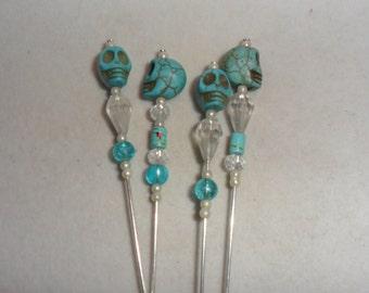 Steampunk  'Stone Skull'  Hat Pins