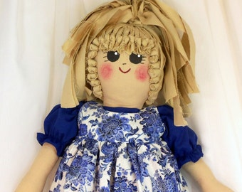 Plastic Bag Holder Doll - Blue And White Floral Print, Recycle, Grocery Bag Holder