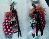 PINK FEATHER Earrings - Gorgeous!  Swarovski crystals, Silver starfish, Pink quail feathers, black leather, seashell disk, RedRobinArt