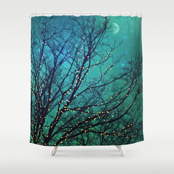 "Aqua Shower Curtain ""Magical Night"" clouds,lights,stars,sky, night, trees,turquoise,blue, teal, bathroom, home decor,twinkle,nature"