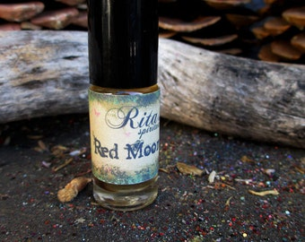 Rita's Red Moon Flow Hand Brewed Ritual Oil - Calming, Relaxing, Female Energies - Witchcraft, Pagan, Hoodoo