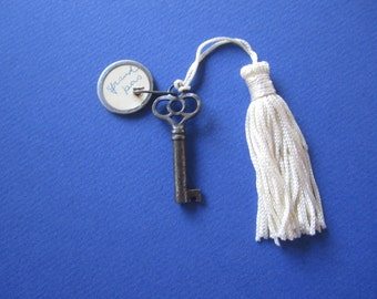 Vintage Key with Cream Tassel for Display
