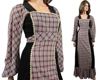 SALE! 70s Prairie Girl Dress XS Vintage Black Corduroy Gray Red Plaid Cotton Long Maxi Free US Shipping
