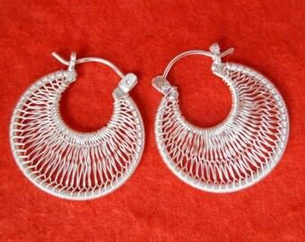 Hoop Sterling Silver Earrings Creolen / silver 925 / Balinese handmade jewelry / 1 inch