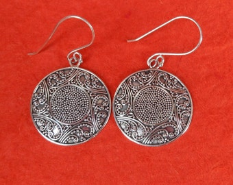 Balinese Granulation art.  Sterling Silver dangle Earrings / 1.75 inch long / silver 925 / Balinese handmade jewelry