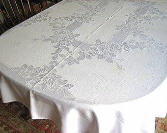 DAMASK TABLECLOTH Vintage Quality White Supple Shadow Work Leafy Cabbage Roses