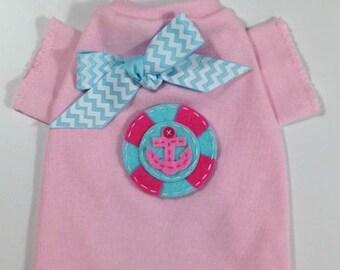 Pink & Aqua Anchor Dog Shirt Clothes Size XXXS through Medium by Doogie Couture