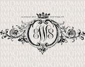 Baroque Ornament & Crown Wedding Monogram - Wedding Logo - Wedding Crest