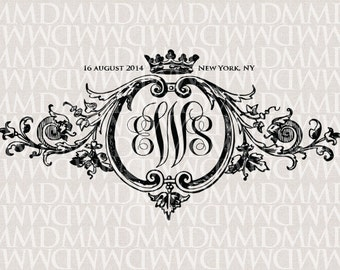 Baroque Ornament & Crown Wedding Monogram - Wedding Logo - Wedding Crest