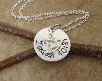 Dainty, Bible verse necklace - Isaiah 40:31 - Verse pendant - Custom bible verse - Photo NOT actual size