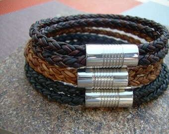 Double Strap Braided Mens Leather Bracelet with Stainless Steel Magnetic Clasp, Mens Jewelry, Leather Bracelet, Mens Bracelet, Leather