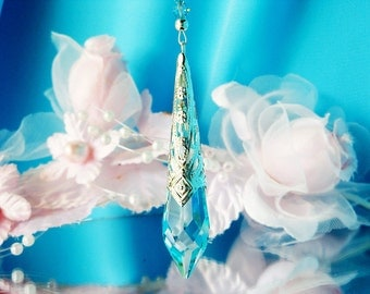 Crystal Rear View Mirror Charm Swarovski Crystal Turquoise Blue Car Accessories Rearview Mirror Car Charm