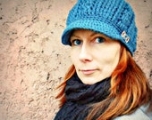 Cabled Newsboy Hat Crochet Pattern