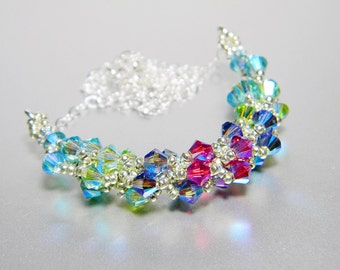 "Ombre Aquamarine and Peridot Swarovski Crystal Necklace Beadweaving Sterling Silver -  ""Beautiful Jewel"""
