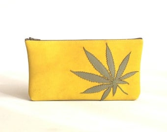"Marijuana Leaf Clutch - Vegan Pot Leaf Pouch : Sage Green Cannabis Leaf Silhouette on Sunny Yellow - ""Sweet Sunshine"""