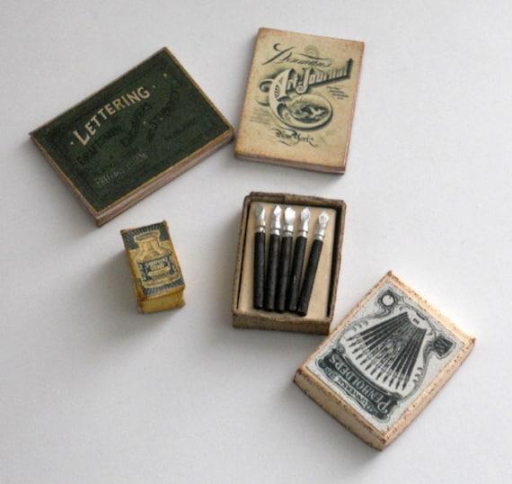 Scale miniature vintage calligraphy art set