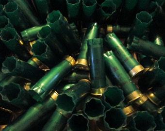 200 Remington STS glossy green shotgun shells hulls, stamped shiny gold brass ends, shot gun bullets, empties, empty fired used, 12 gauge GA
